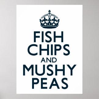 Microprocesadores de los pescados y guisantes póster