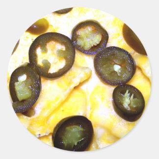 Microprocesadores, queso y Jalapenos Pegatina Redonda