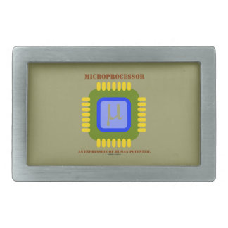 Microprocessor An Expression Of Human Potential Rectangular Belt Buckle