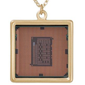 microprocessor square pendant necklace
