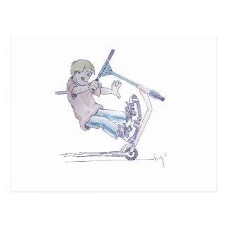Microscooter wheelie cartoon micro scooter postcard
