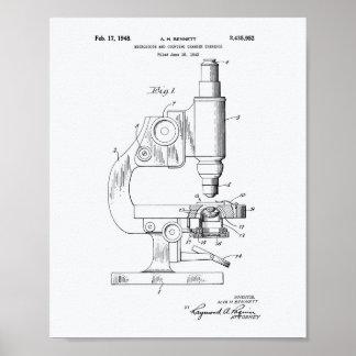Microscope 1948 Patent Art White Paper Poster
