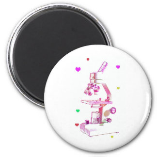microscope in pink 2 inch round magnet