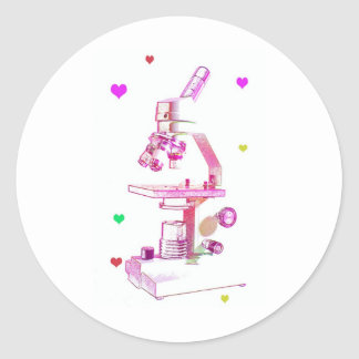 microscope in pink classic round sticker