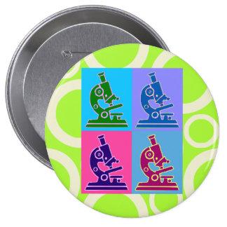 Microscope Pop Art 4 Inch Round Button