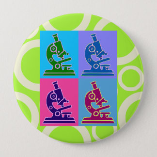 Microscope Pop Art Button
