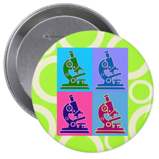 Microscope Pop Art Button