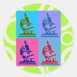 Microscope Pop Art Classic Round Sticker