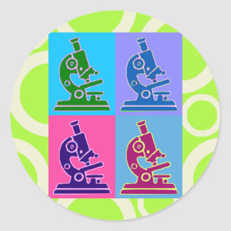 Microscope Pop Art Classic Round Sticker