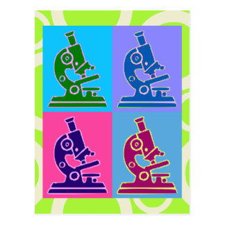 Microscope Pop Art Postcard