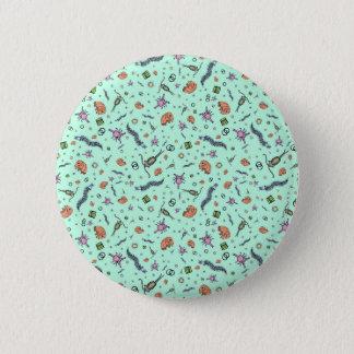 Microscopic Animals in Blue Button
