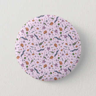 Microscopic Animals in Pink Button