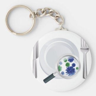 Microscopic bacteria cutlery concept basic round button keychain