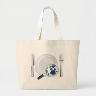 Microscopic bacteria cutlery concept large tote bag