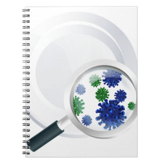 Microscopic bacteria cutlery concept spiral notebook