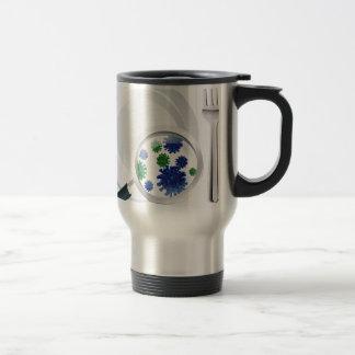 Microscopic bacteria cutlery concept travel mug