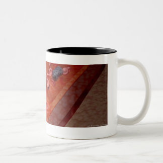 Microscopic rendering of a blood infection Two-Tone coffee mug