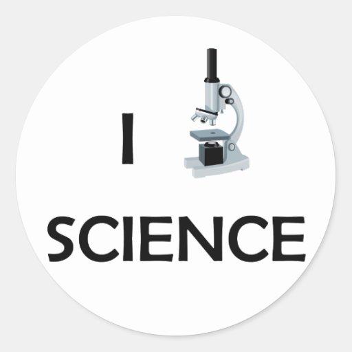 Microscopio de la ciencia del amor etiqueta redonda