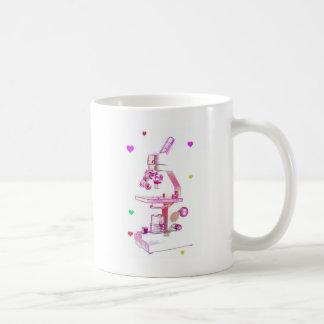 microscopio en rosa tazas de café