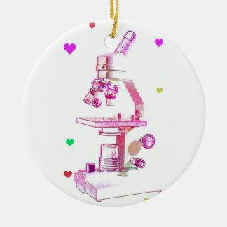 Microscopio para los chicas adorno navideño redondo de cerámica
