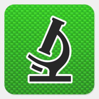 Microscopio; Verde Colcomanias Cuadradas Personalizadas
