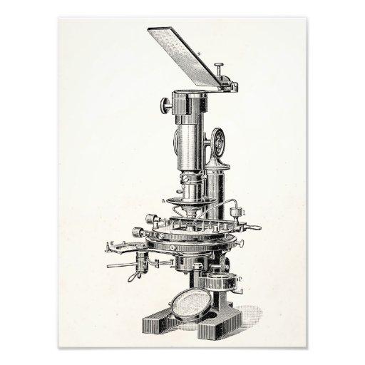 Microscopios retros del ejemplo del microscopio de impresión fotográfica