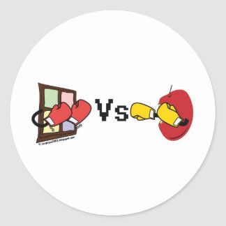 Microsoft Windows contra Apple Mac que encajona Pegatina Redonda