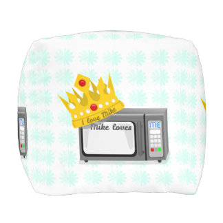 Microwave is King of the Kitchen Crown Cube Pouf