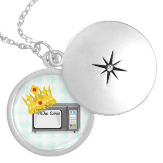 Microwave is King of the Kitchen Crown Round Locket Necklace
