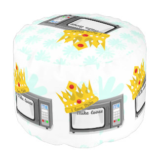 Microwave is King of the Kitchen Crown Round Pouf