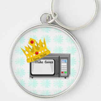 Microwave is King of the Kitchen Crown Silver-Colored Round Keychain