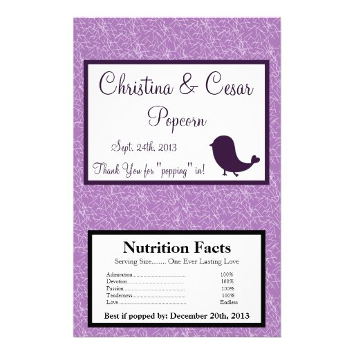 Microwave Popcorn Wrapper Bird Swing Purple BG Personalized Flyer
