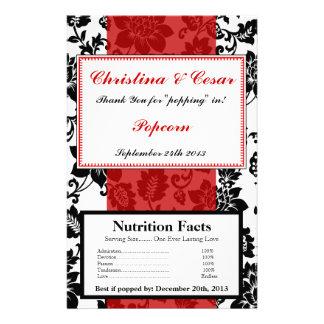Microwave Popcorn Wrapper Black Flourish Red Strip