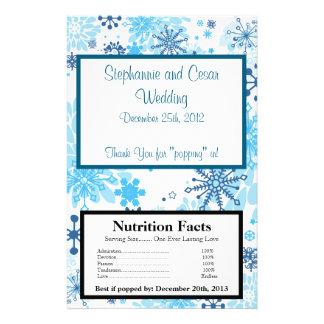 Microwave Popcorn Wrapper  Blue Tree / Snowflakes