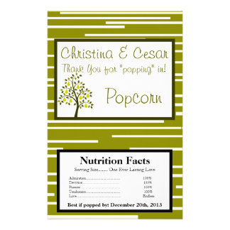 Microwave Popcorn Wrapper Green Pear Fruit Stripes