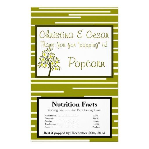 Microwave Popcorn Wrapper Green Pear Fruit Stripes Flyer | Zazzle