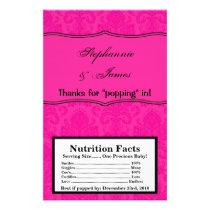 Microwave Popcorn Wrapper Hot Pink Bla Damask Lace Flyer