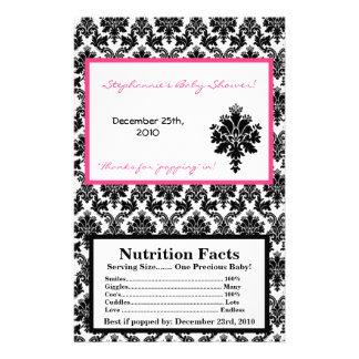 """Microwave Popcorn Wrapper Hot Pink Black Damask 5.5"""" X 8.5"""" Flyer"""
