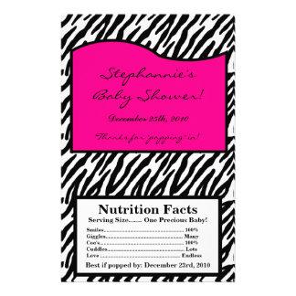 "Microwave Popcorn Wrapper Hot Pink Zebra Print 5.5"" X 8.5"" Flyer"