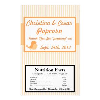 "Microwave Popcorn Wrapper Love Birds Peach Stripes 5.5"" X 8.5"" Flyer"