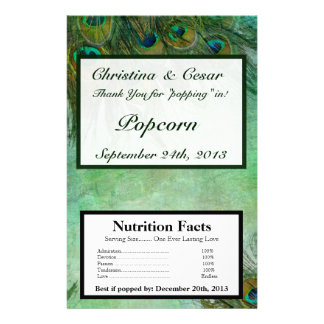 """Microwave Popcorn Wrapper Peacock Green Feathers 5.5"""" X 8.5"""" Flyer"""