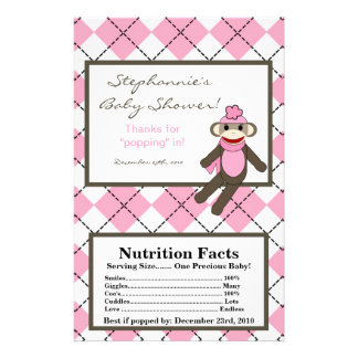 "Microwave Popcorn Wrapper Pink Argyle Sock Monkey 5.5"" X 8.5"" Flyer"