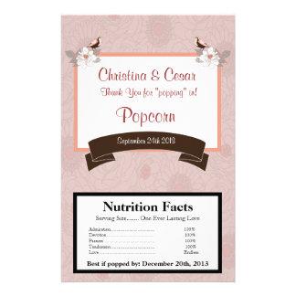 Microwave Popcorn Wrapper Pink/Brown Floral Love B