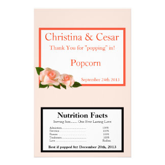 Microwave Popcorn Wrapper Pink/Peach Rose with Lea