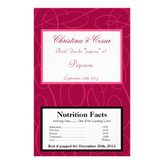 "Microwave Popcorn Wrapper Raspberry Pink Loops/Swi 5.5"" X 8.5"" Flyer"