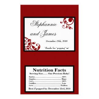"Microwave Popcorn Wrapper Red Floral Filigree 5.5"" X 8.5"" Flyer"