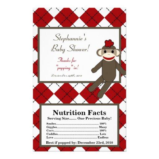 Microwave Popcorn Wrapper Red Sock Monkey Custom Flyer