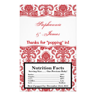 Microwave Popcorn Wrapper Red White Damask Lace