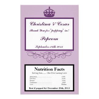 "Microwave Popcorn Wrapper Royal Purple Crown/Swirl 5.5"" X 8.5"" Flyer"