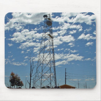 Microwave relay dishes on a communications tower mouse pad